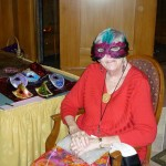 05 - Evelyn with Mardi Gras masks